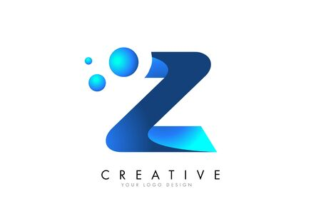 Z Letter Logo Design with 3D and Ribbon Effect and Dots. Colorful rounded Letter with Blue Gradient.