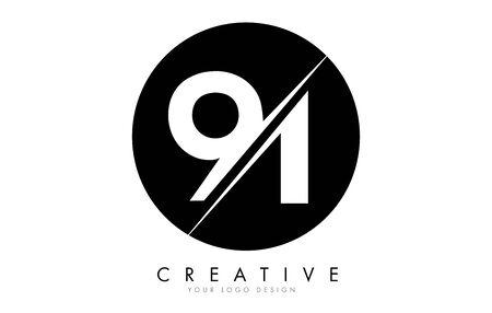 91 9 1 Number Design with a Creative Cut and Black Circle Background. Ilustração