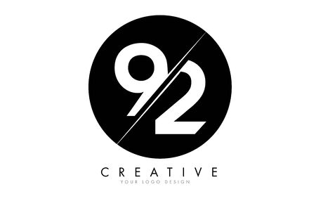 92 9 2 Number Design with a Creative Cut and Black Circle Background.