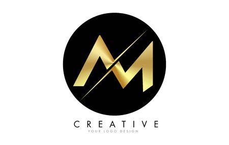 AM A M Golden Letter Design with a Creative Cut. Creative design with Black Circle Background. Ilustração
