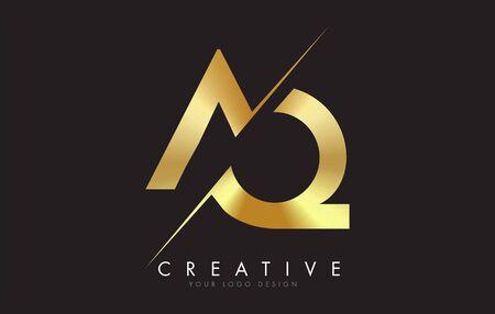 AQ A Q Golden Letter Design with a Creative Cut. Creative design with Black Background. Ilustração