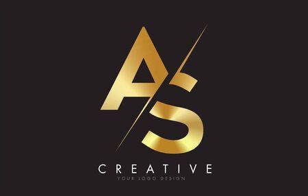 AS A S Golden Letter Design with a Creative Cut. Creative design with Black Background. Ilustração