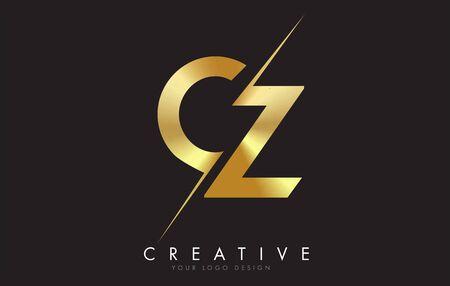 CZ C Z Golden Letter Logo Design with a Creative Cut. Creative logo design with Black Background. Logo