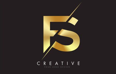 FS F S Golden Letter Logo Design with a Creative Cut. Creative logo design with Black Background.