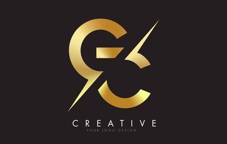 GC GC Golden Letter Logo-Design mit einem kreativen Schnitt. Kreatives Logo-Design mit schwarzem Hintergrund.