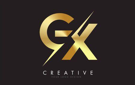 GX G X Golden Letter Logo Design with a Creative Cut. Creative logo design with Black Background.