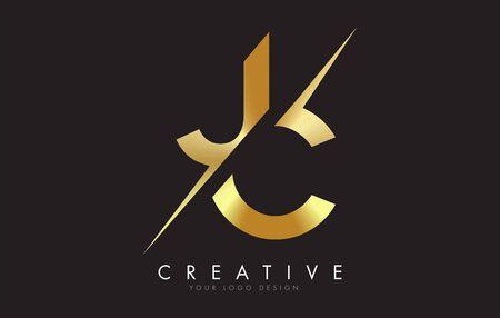 JC J C Golden Letter Logo Design with a Creative Cut. Creative logo design with Black Background.