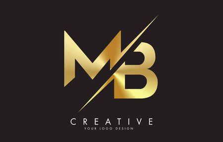 MB M B Golden Letter Logo Design with a Creative Cut. Creative logo design with Black Background.