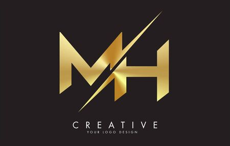 MH M H Golden Letter Logo Design with a Creative Cut. Creative logo design with Black Background. Logó
