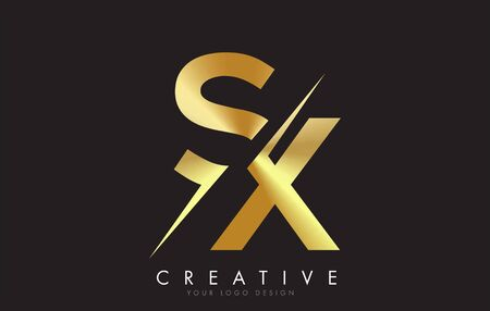 SX S X Golden Letter Logo Design with a Creative Cut. Creative logo design with Black Background. Ilustração
