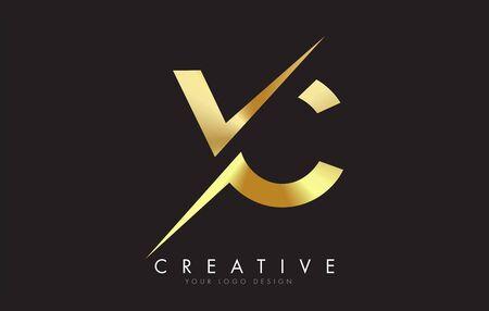 VC V C Golden Letter Logo Design with a Creative Cut. Creative logo design with Black Background.
