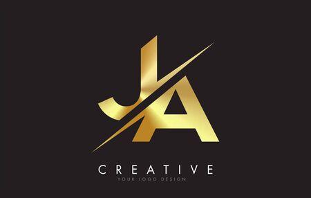 JA J A Golden Letter Logo Design with a Creative Cut. Creative logo design with Black Background.