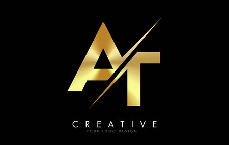 AT A T Golden Letter Logo Design with a Creative Cut. Creative logo design with Black Background.