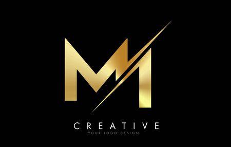 MI M I Golden Letter Logo Design with a Creative Cut. Creative logo design with Black Background. Logo