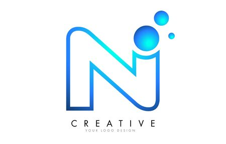 N Letter Logo Design with 3D and Ribbon Effect and Dots. Colorful rounded Letter with Blue Gradient.