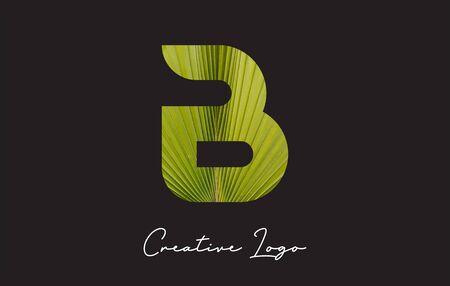 B Letter Logo with Palm Tree Leaf Pattern Design Vector Illustration.