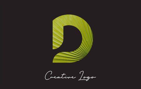 D Letter Logo with Palm Tree Leaf Pattern Design Vector Illustration. Ilustração