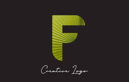 F Letter Logo with Palm Tree Leaf Pattern Design Vector Illustration.
