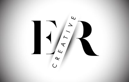 ER E R Letter Logo with Creative Shadow Cut and Over layered Text Vector Illustration Design. Illusztráció
