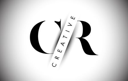 CR C R Letter Logo with Creative Shadow Cut and Overlayered Text Vector Illustration Design. Logó