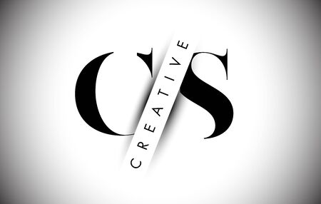 CS C S Letter Logo with Creative Shadow Cut and Overlayered Text Vector Illustration Design.