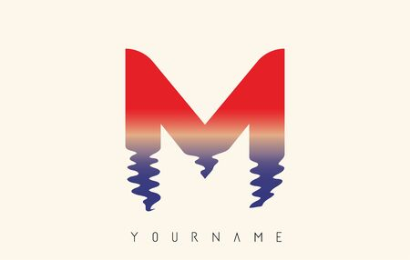 M Letter Logo Design with Water Effect and Sunset Gradient Vector Illustration.