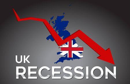 Map of United Kingdom Recession Economic Crisis Creative Concept with Economic Crash Arrow Vector Illustration Design. Vettoriali