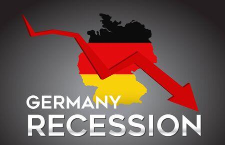 Map of Germany Recession Economic Crisis Creative Concept with Economic Crash Arrow Vector Illustration Design. Vektorové ilustrace