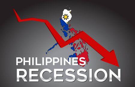 Map of Philippines Recession Economic Crisis Creative Concept with Economic Crash Arrow Vector Illustration Design.