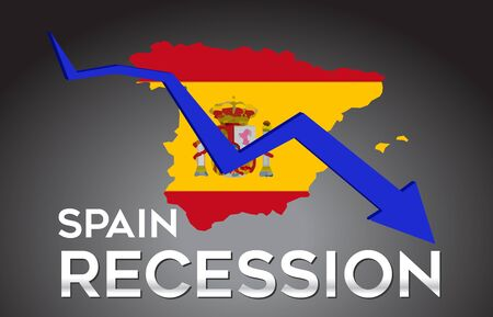 Map of Spain Recession Economic Crisis Creative Concept with Economic Crash Arrow Vector Illustration Design.