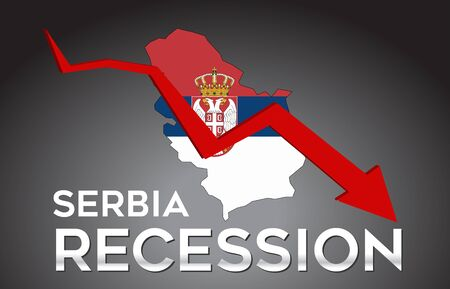 Map of Serbia Recession Economic Crisis Creative Concept with Economic Crash Arrow Vector Illustration Design.