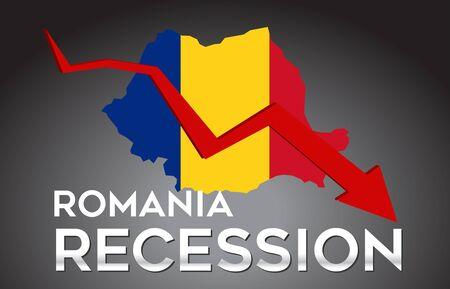 Map of Romania Recession Economic Crisis Creative Concept with Economic Crash Arrow Vector Illustration Design. Vektoros illusztráció