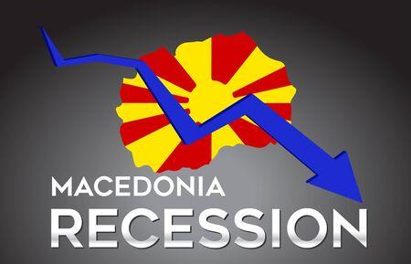 Map of Macedonia Recession Economic Crisis Creative Concept with Economic Crash Arrow Vector Illustration Design. Illustration