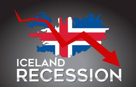 Map of Iceland Recession Economic Crisis Creative Concept with Economic Crash Arrow Vector Illustration Design. Vettoriali