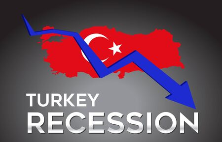Map of Turkey Recession Economic Crisis Creative Concept with Economic Crash Arrow Vector Illustration Design.