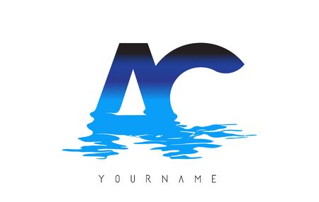 AC A C Letter Logo Design with Water Effect and Deep Blue Gradient Vector Illustration.