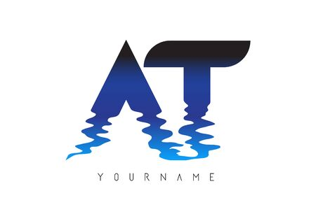 AT A T Letter Logo Design with Water Effect and Deep Blue Gradient Vector Illustration.