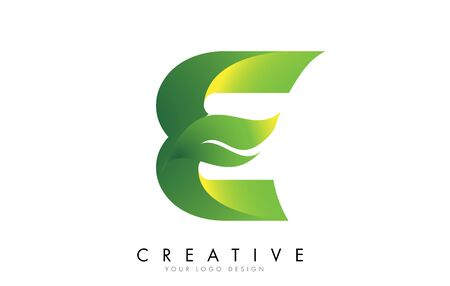 Letter E with eco leaf concept design vector illustration.