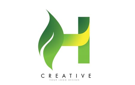 Letter H with eco leaf concept design vector illustration. Ilustración de vector