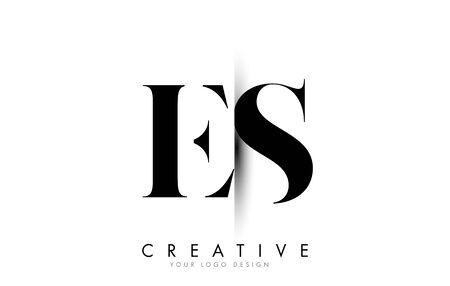 ES E S Letter Logo Design with Creative Shadow Cut Vector Illustration Design.