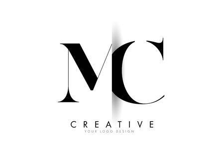 MC M C Letter Logo Design with Creative Shadow Cut Vector Illustration Design.