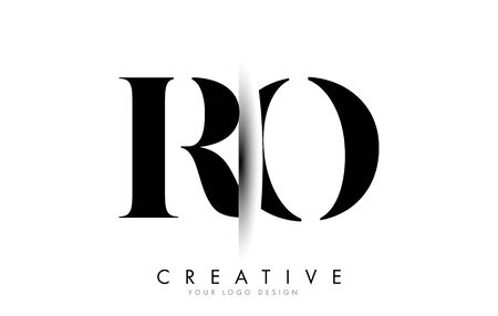 RO R O Letter Logo Design with Creative Shadow Cut Vector Illustration Design.
