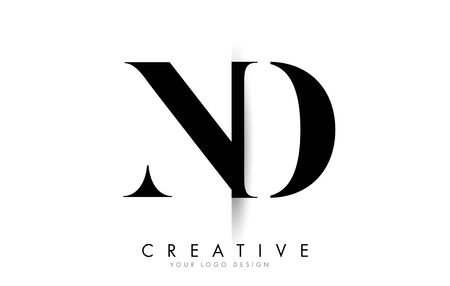 ND N D Letter Logo Design with Creative Shadow Cut Vector Illustration Design.