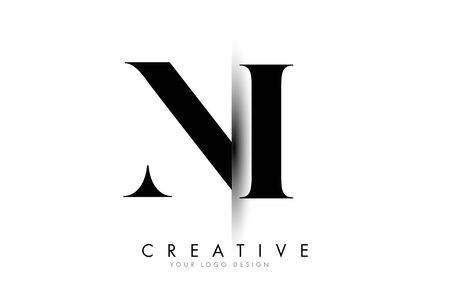 NI N I Letter Logo Design with Creative Shadow Cut Vector Illustration Design.