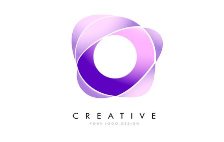 Letter O Logo with Satin texture and Fluid Look Vector Design.