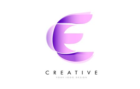 Letter E Logo with Satin texture and Fluid Look Vector Design.