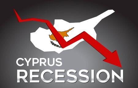 Map of Cyprus Recession Economic Crisis Creative Concept with Economic Crash Arrow Vector Illustration Design.