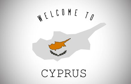 Cyprus Welcome to Text and Country flag inside Country Border Map. Cyprus map with national flag Vector Design Illustration.
