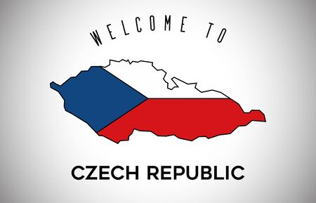 Czech Republic Welcome to Text and Country flag inside Country Border Map. Czech Republic map with national flag Vector Design Illustration.