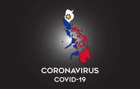 CoronaVirus in Philippines and Country flag inside Country border Map Vector Design. Covid-19 with Philippines map with national flag Vector Illustration. Vectores